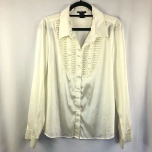 Spense | Ivory Blouse w/ Pleated Chest Detail